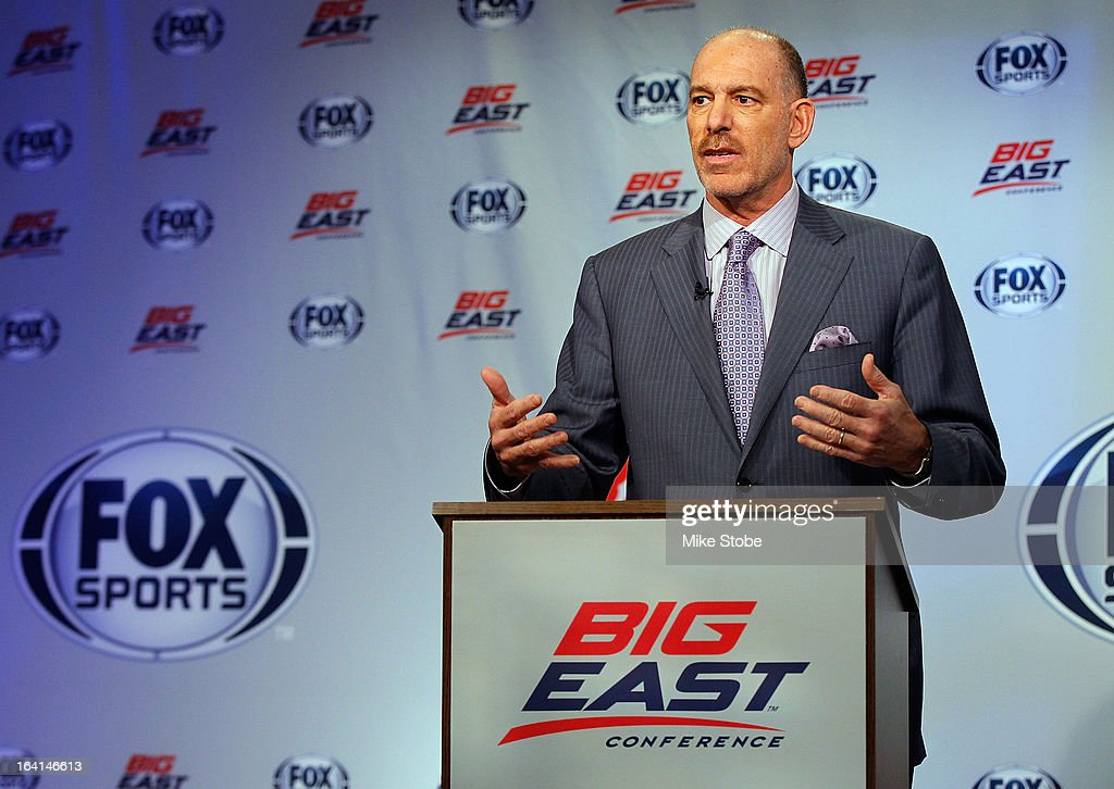 Joel Fisher, Executive Vice President of MSG Sports and Arena Renovation at Madison Square Garden, speaks to the media during the New Big East Conference & Fox Sports Media Group Press Event on March 20, 2013 in New York City.