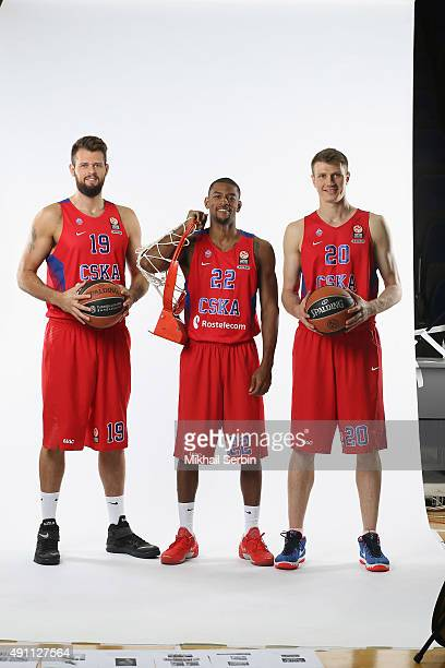 Joel Freeland #19 Cory Higgins #22 and Andrey Vorontsevich #20 of CSKA Moscow during the 2015/2016 Turkish Airlines Euroleague Basketball Media Day...