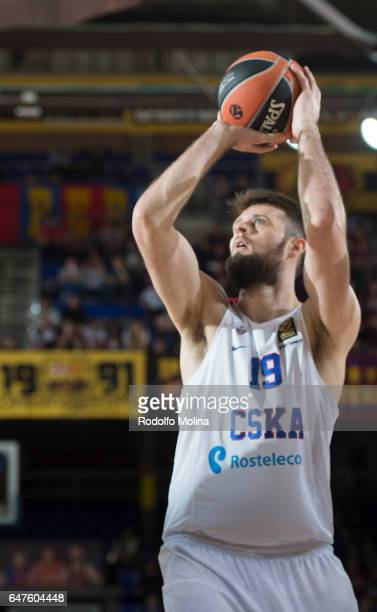 Joel Freeland #19 of CSKA Moscow in action during the 2016/2017 Turkish Airlines EuroLeague Regular Season Round 24 game between FC Barcelona Lassa v...
