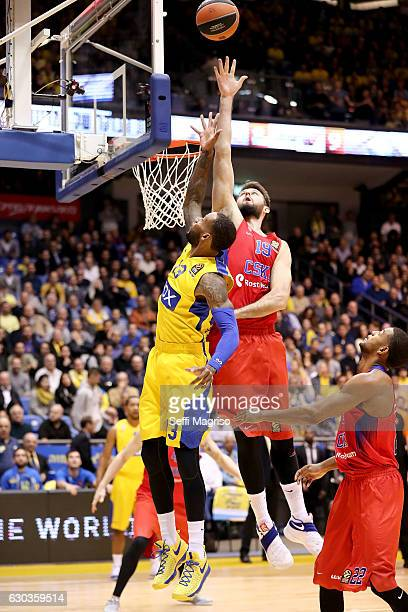 Joel Freeland of CSKA Moscow competes with Sonny Weems #13 of Maccabi Fox Tel Avivin action during the 2016/2017 Turkish Airlines EuroLeague Regular...