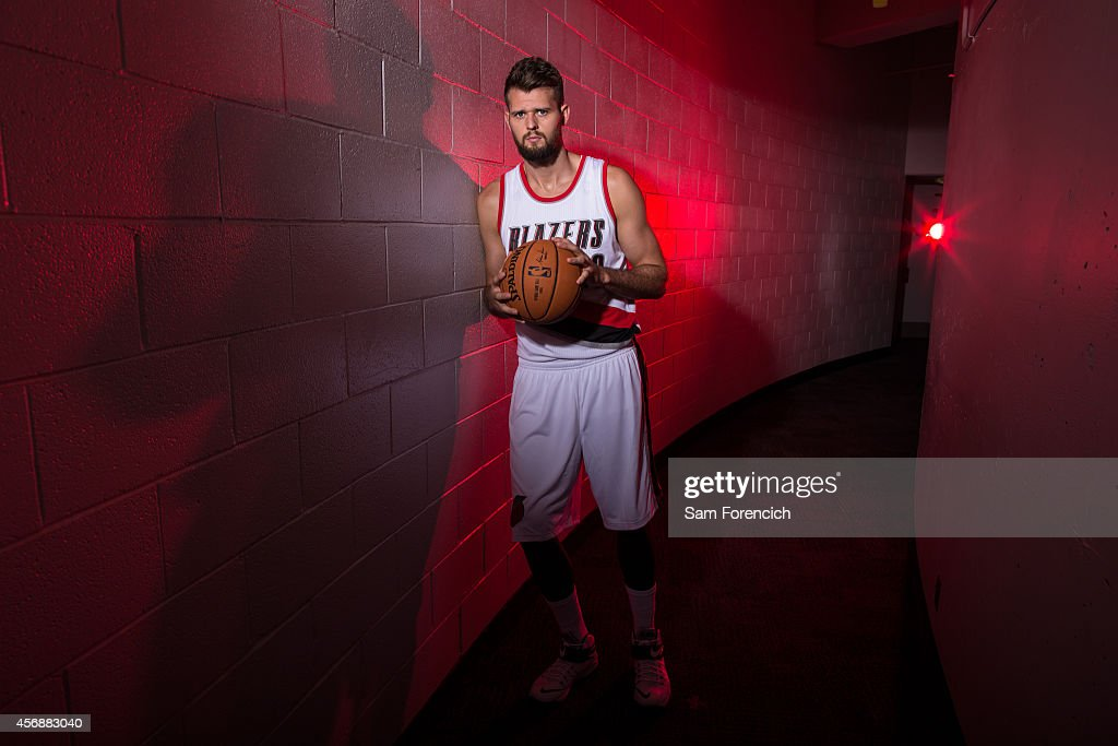 Joel Freeland of the Portland Trail Blazer poses for photos during the teams annual Media Day September 29 2014 at the Veterans Memorial Coliseum in...