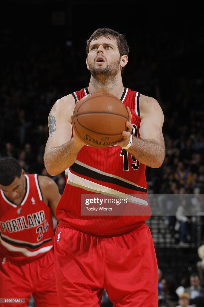 Joel Freeland #19 of the Portland Trail Blazers attempts a free throw against the Golden State Warriors on January 11, 2013 at Oracle Arena in Oakland, California.