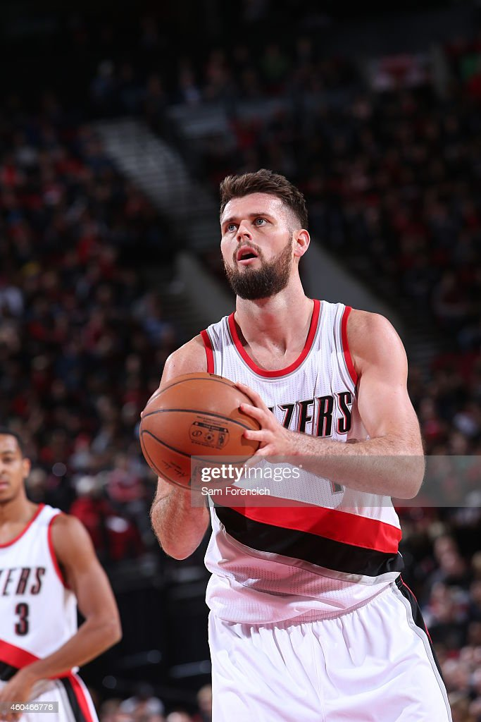 Joel Freeland of the Portland Trail Blazers attempts a free throw against the New Orleans Pelicans on November 17 2014 at the Moda Center Arena in...