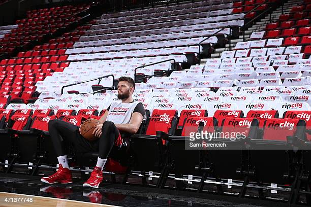 Joel Freeland of the Portland Trail Blazers before the game against the Memphis Grizzlies in Game Four of the Western Conference Quarterfinals during...