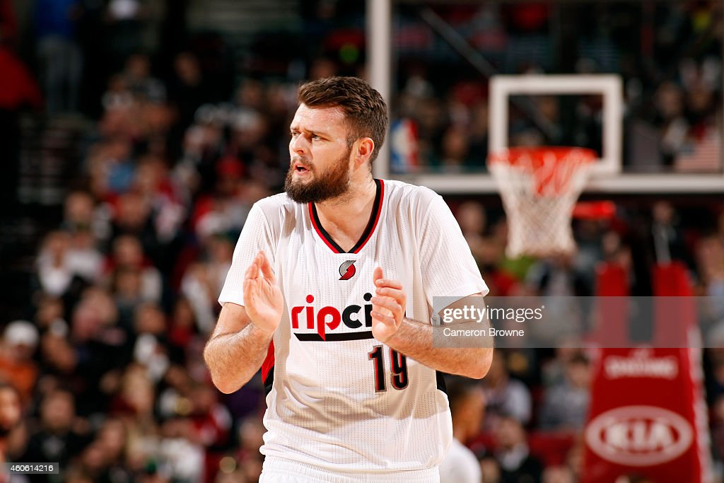 Joel Freeland of the Portland Trail Blazers celebrates during a game against the Milwaukee Bucks on December 17 2014 at the Moda Center Arena in...