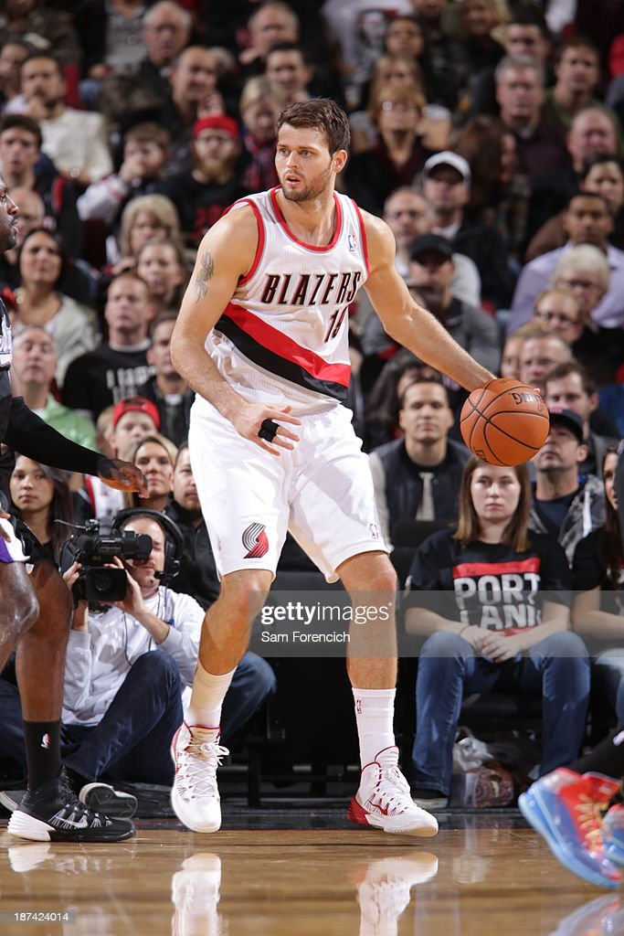 <a gi-track='captionPersonalityLinkClicked' href=/galleries/search?phrase=Joel+Freeland&family=editorial&specificpeople=757235 ng-click='$event.stopPropagation()'>Joel Freeland</a> #19 of the Portland Trail Blazers controls the ball against the Sacramento Kings on November 8, 2013 at the Moda Center Arena in Portland, Oregon.