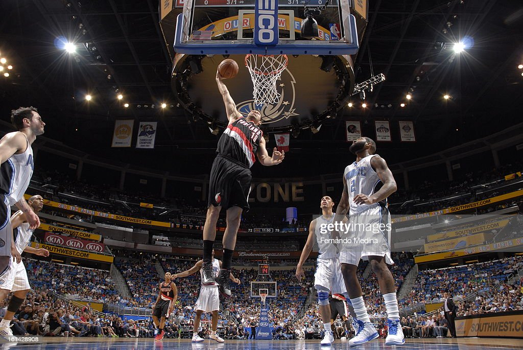 Joel Freeland #19 of the Portland Trail Blazers dunks against the Orlando Magic on February 10, 2013 at Amway Center in Orlando, Florida.