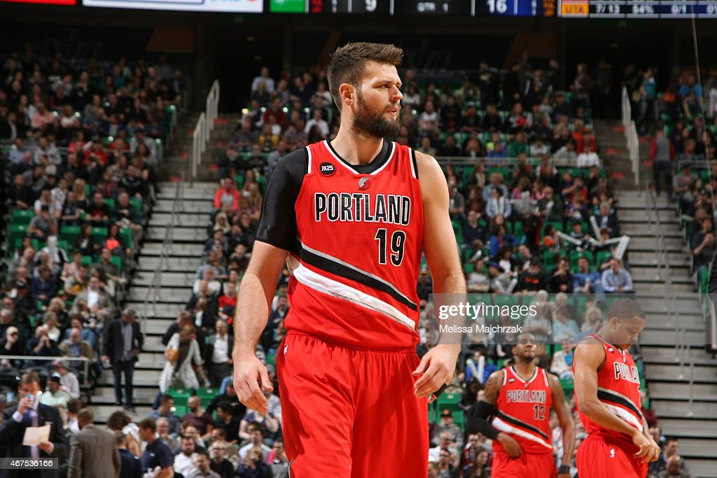 Joel Freeland of the Portland Trail Blazers during the game against the Utah Jazz on March 25 2015 at EnergySolutions Arena in Salt Lake City Utah...