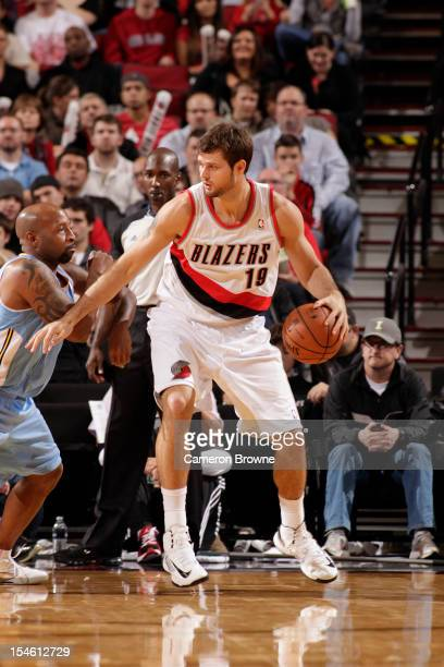 Joel Freeland of the Portland Trail Blazers handles the ball against the Denver Nuggets on October 17 2012 at the Rose Garden Arena in Portland...