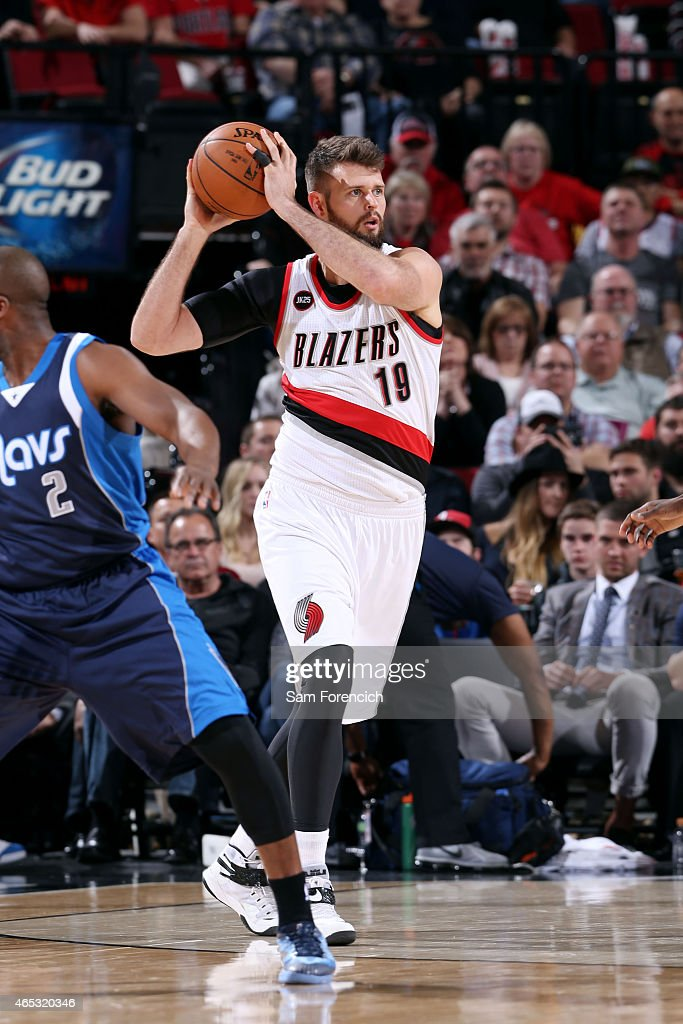 Joel Freeland of the Portland Trail Blazers handles the ball against the Dallas Mavericks on March 5 2015 at the Moda Center in Portland Oregon NOTE...