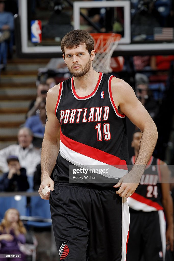 Joel Freeland #19 of the Portland Trail Blazers in a game against the Sacramento Kings on December 23, 2012 at Sleep Train Arena in Sacramento, California.