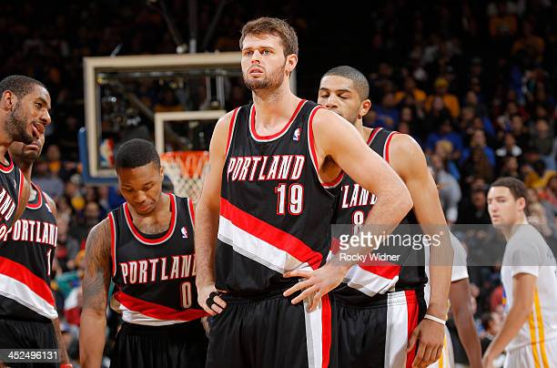 Joel Freeland of the Portland Trail Blazers in a game against the Golden State Warriors on November 23 2013 at Oracle Arena in Oakland California...