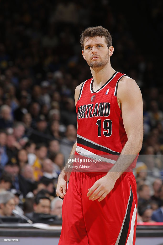 Joel Freeland of the Portland Trail Blazers in a game against the Golden State Warriors on January 26 2014 at Oracle Arena in Oakland California NOTE...