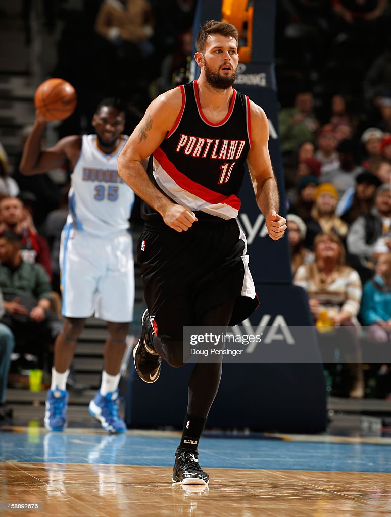 Joel Freeland of the Portland Trail Blazers plays against the Denver Nuggets at Pepsi Center on November 12 2014 in Denver Colorado The Trail Blazers...