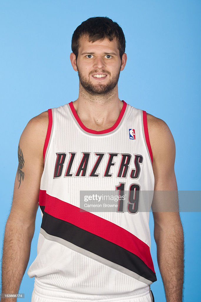 <a gi-track='captionPersonalityLinkClicked' href=/galleries/search?phrase=Joel+Freeland&family=editorial&specificpeople=757235 ng-click='$event.stopPropagation()'>Joel Freeland</a> #19 of the Portland Trail Blazers poses for a photo during Media Day on October 1, 2012 at the Rose Garden Arena in Portland, Oregon.