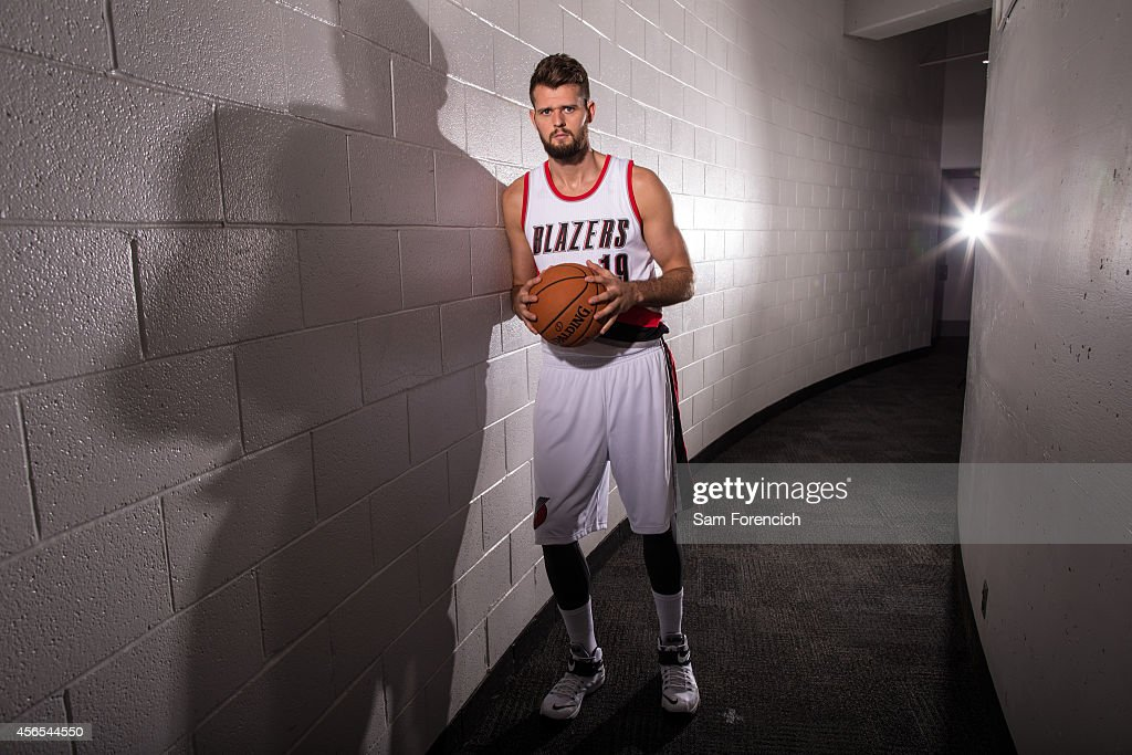 Joel Freeland of the Portland Trail Blazers poses for photos during the teams annual Media Day September 29 2014 at the Veterans Memorial Coliseum in...