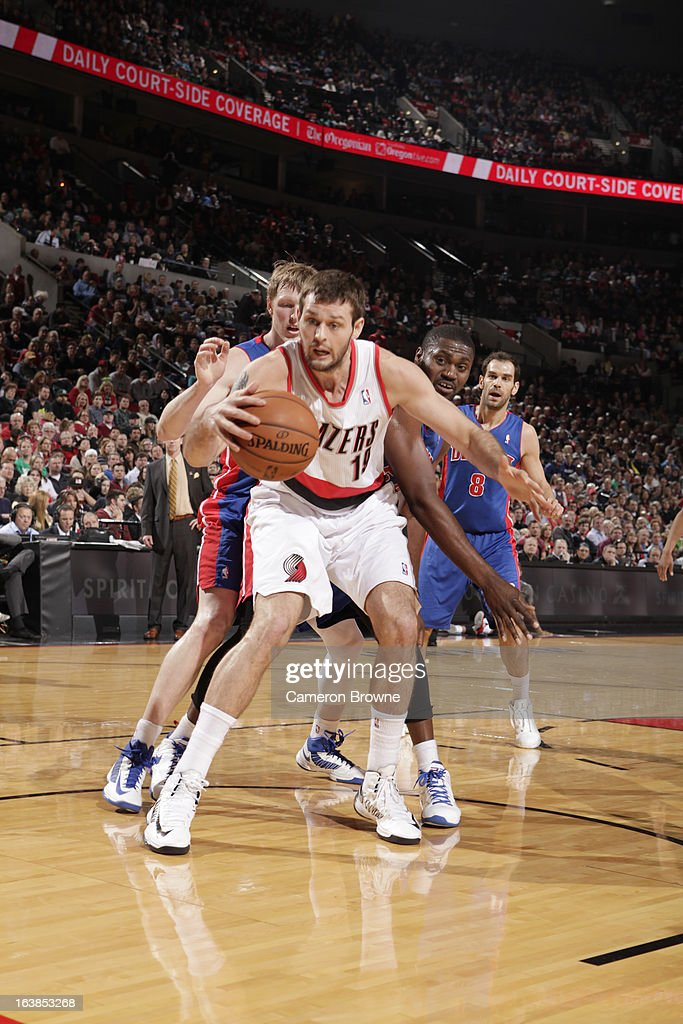 <a gi-track='captionPersonalityLinkClicked' href=/galleries/search?phrase=Joel+Freeland&family=editorial&specificpeople=757235 ng-click='$event.stopPropagation()'>Joel Freeland</a> #19 of the Portland Trail Blazers protects the ball during the game between the Detroit Pistons and the Portland Trail Blazers on March 16, 2013 at the Rose Garden Arena in Portland, Oregon.