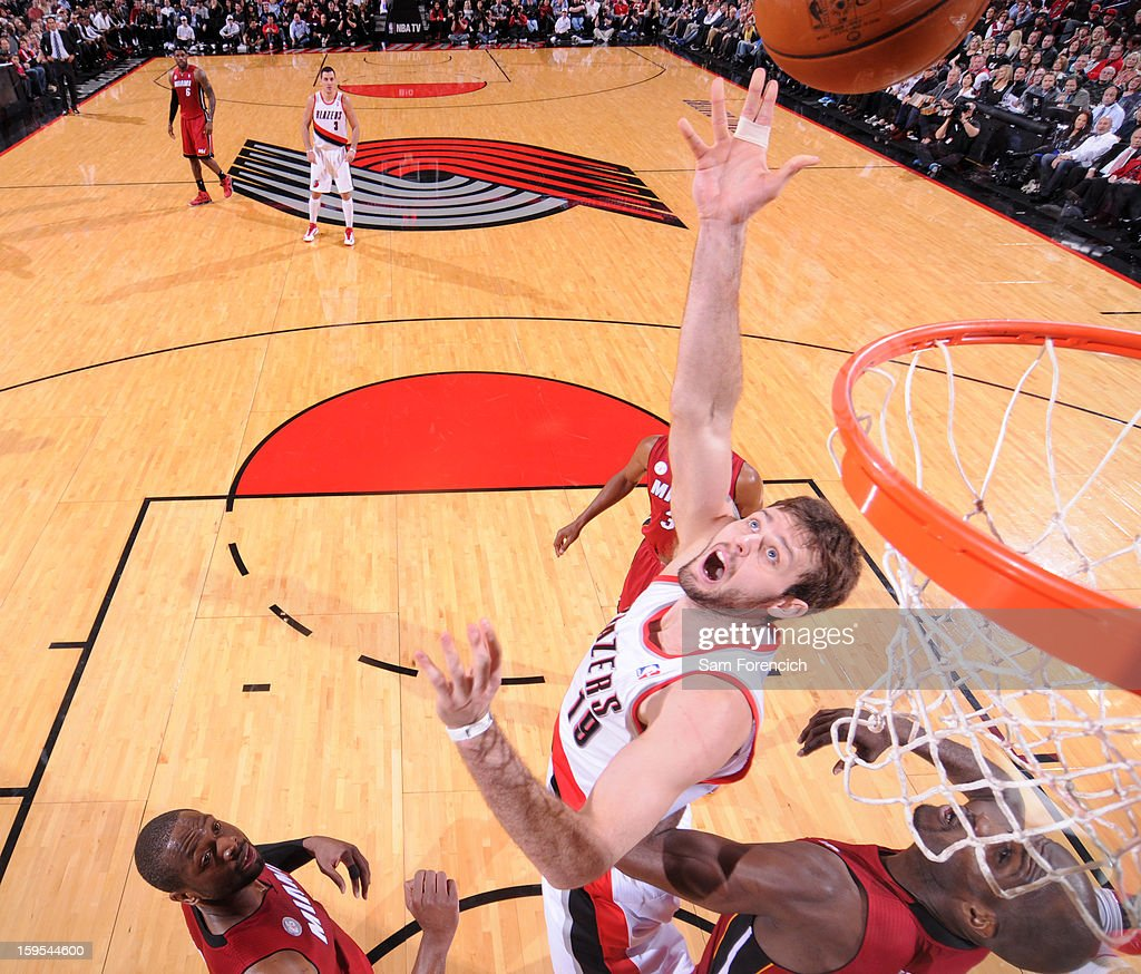 Joel Freeland #19 of the Portland Trail Blazers puts up a shot against the Miami Heat on January 10, 2013 at the Rose Garden Arena in Portland, Oregon.