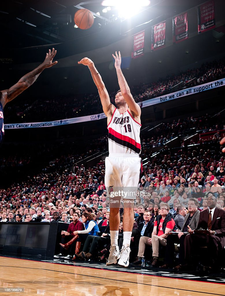 <a gi-track='captionPersonalityLinkClicked' href=/galleries/search?phrase=Joel+Freeland&family=editorial&specificpeople=757235 ng-click='$event.stopPropagation()'>Joel Freeland</a> #19 of the Portland Trail Blazers shoots against the Atlanta Hawks on November 12, 2012 at the Rose Garden Arena in Portland, Oregon.
