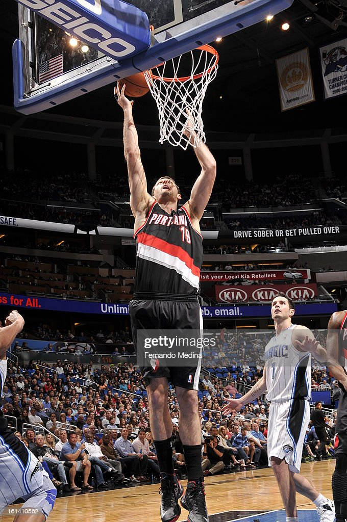 Joel Freeland #19 of the Portland Trail Blazers shoots against the Orlando Magic on February 10, 2013 at Amway Center in Orlando, Florida.