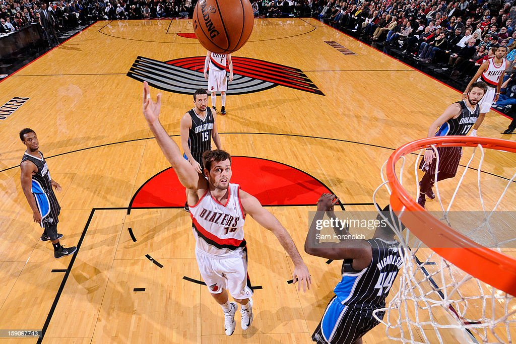 Joel Freeland #19 of the Portland Trail Blazers shoots in the lane against the Orlando Magic on January 7, 2013 at the Rose Garden Arena in Portland, Oregon.