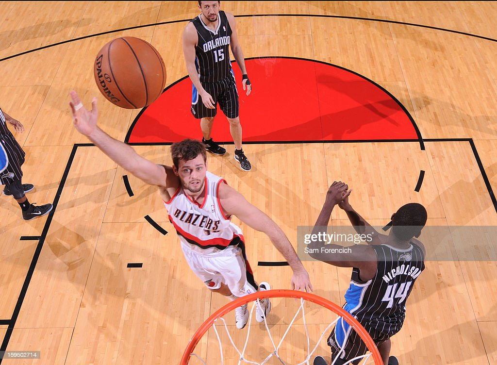 Joel Freeland #19 of the Portland Trail Blazers shoots the ball against the Orlando Magic on January 7, 2013 at the Rose Garden Arena in Portland, Oregon.