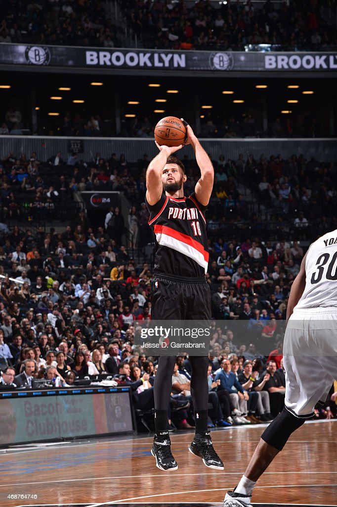 Joel Freeland of the Portland Trail Blazers shoots the ball against the Brooklyn Nets at Barclays Center on April 6 2015 in Brooklyn New York NOTE TO...