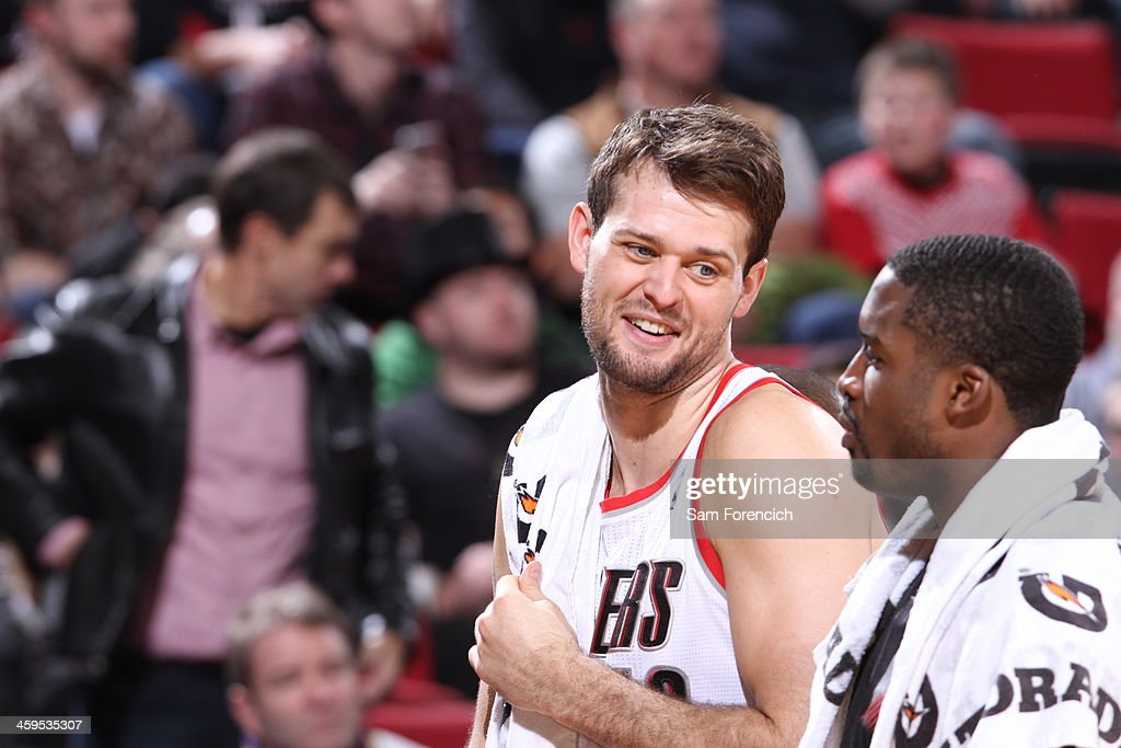 <a gi-track='captionPersonalityLinkClicked' href=/galleries/search?phrase=Joel+Freeland&family=editorial&specificpeople=757235 ng-click='$event.stopPropagation()'>Joel Freeland</a> #19 of the Portland Trail Blazers smiles against the Utah Jazz on December 6, 2013 at the Moda Center Arena in Portland, Oregon.