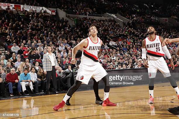 Joel Freeland of the Portland Trailblazers looks up for the rebound against the Utah Jazz on February 21 2014 at the Moda Center Arena in Portland...