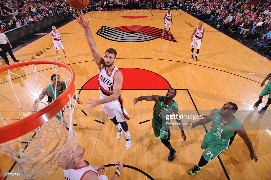 Joel Freeland of the Protland Trail Blazers takes a shot against Maccabi Haifa on October 17 2014 at the Moda Center Arena in Portland Oregon NOTE TO...