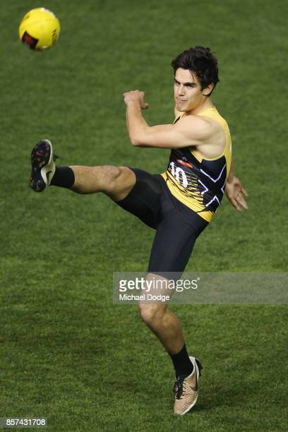Joel Garner from Eastern Rangers kicks the ball at goal during the AFLW Draft Combine at Etihad Stadium on October 4 2017 in Melbourne Australia