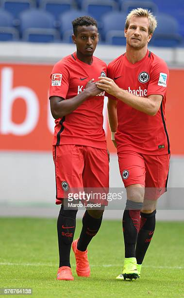 Joel Gerezgiher and Stefan Aigner of Eintracht Frankfurt during the cup of traditions on july 17 2016 in Duisburg Germany