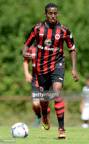 Joel Gerezgiher of Frankfurt controles the ball during the A Juniors match between Eintracht Frankfurt and FC Bayern Muenchen at...