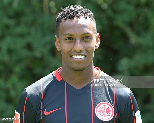 Joel Gerezgiher of German first division Bundesliga team Eintracht Frankfurt poses for a photo in Frankfurt Germany on July 15 2015 AFP PHOTO /...