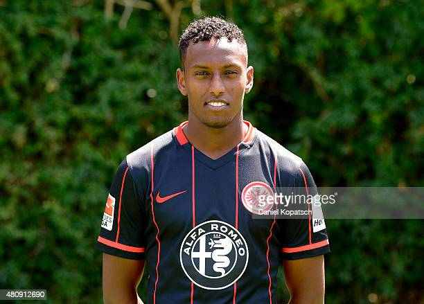 Joel Gerezgiher poses during the Eintracht Frankfurt team presentation on July 15 2015 in Frankfurt am Main Germany