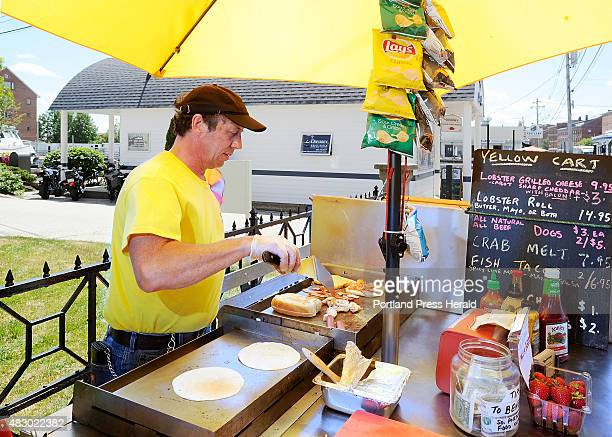 Joel Glatz owns the Yellow Cart and specializes in a grilled lobster and cheese with optional bacon as well as fish tacos hot dogs and crab melts...