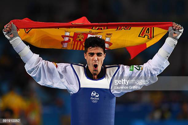 Joel Gonzalez Bonilla of Spain celebrates after defeating Edgar Contreras of Venezuela during the men's 68kg Bronze Medal Taekwondo contest at the...