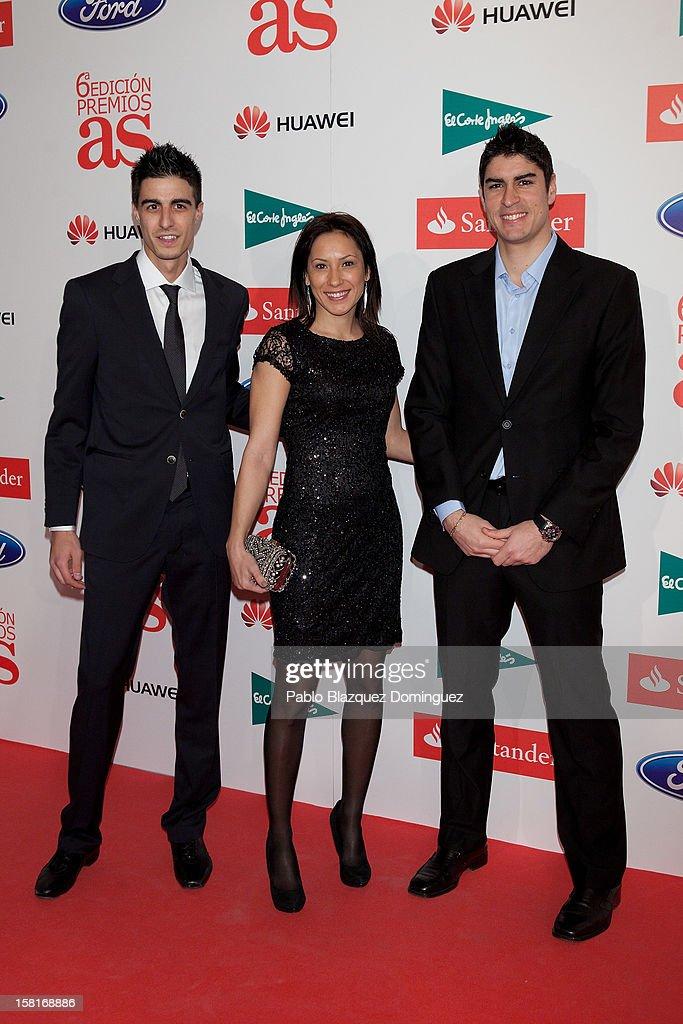 Joel Gonzalez, Brigitte Yague and Niko Garcia attend 'As Del Deporte' Awards 2012 at The Westin Palace Hotel on December 10, 2012 in Madrid, Spain.