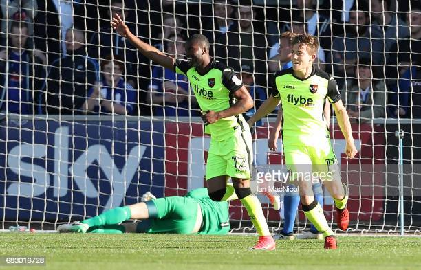 Joel Grant of Exeter City celebrates after he scores the opening goal the Sky Bet League Two match between Carlise United and Exeter City at Brunton...