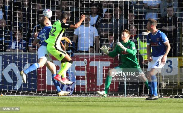 Joel Grant of Exeter City scores the opening goal the Sky Bet League Two match between Carlise United and Exeter City at Brunton Park on May 14 2017...