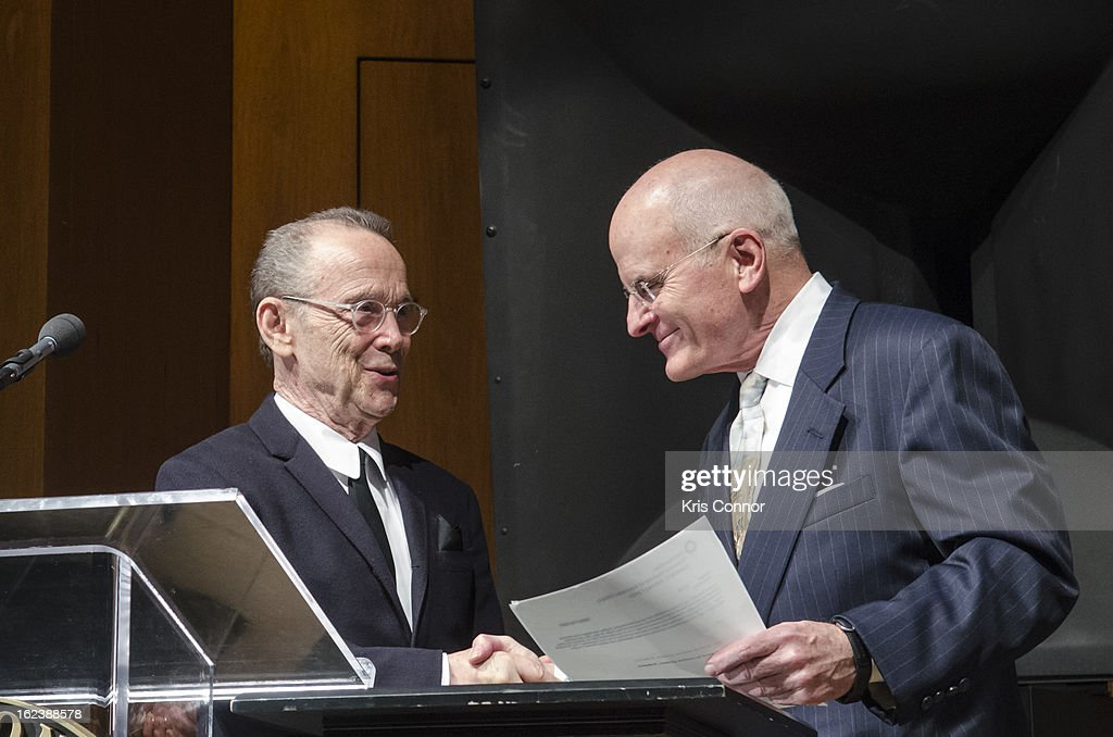 Joel Grey and John Gray sign a the donation form during the 'Cabaret' Washington DC Screening Honoring Joel Grey at Smithsonian National Museum Of American History on February 22, 2013 in Washington, DC.