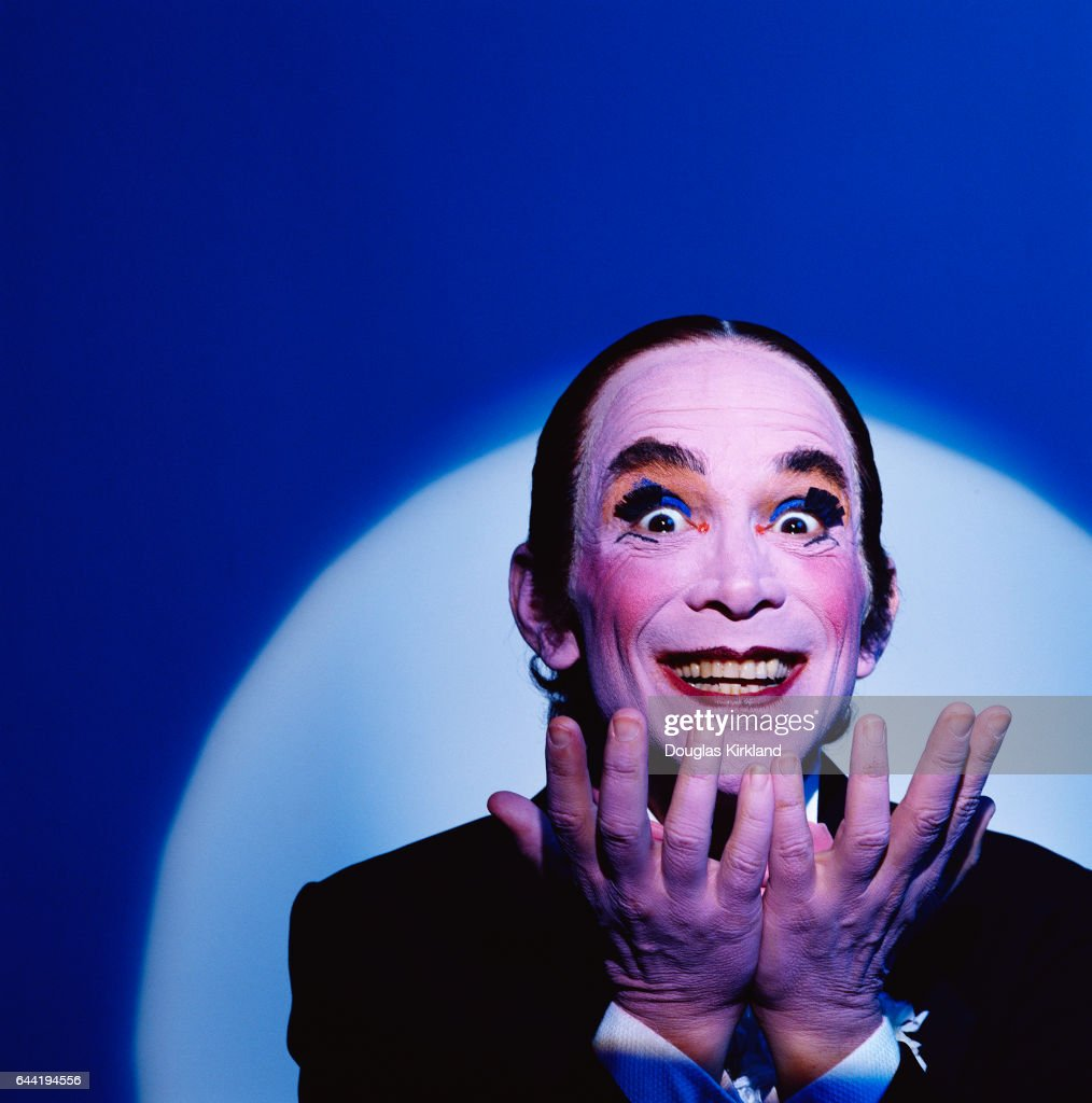 Joel Grey dressed as the Master of Ceremonies, the sardonic musical commentator on the story in the play and movie Cabaret. Grey created the role on Broadway, and won an Oscar for his performance in the film. Motion Picture released in 1972.
