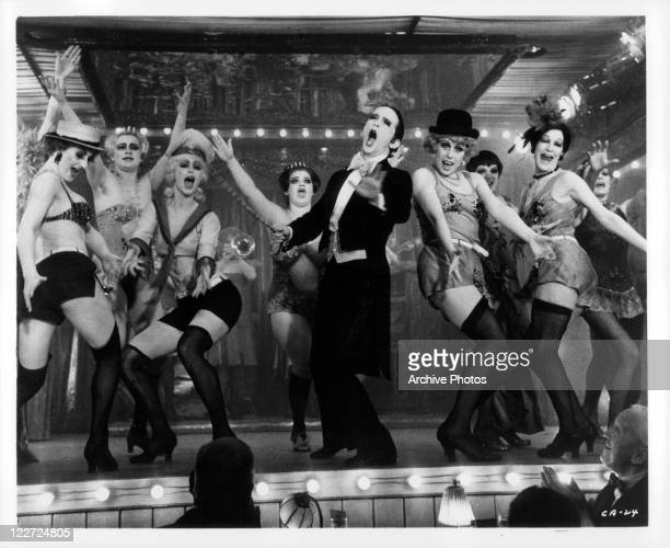 Joel Grey performing on stage in a scene from the film 'Cabaret' 1972