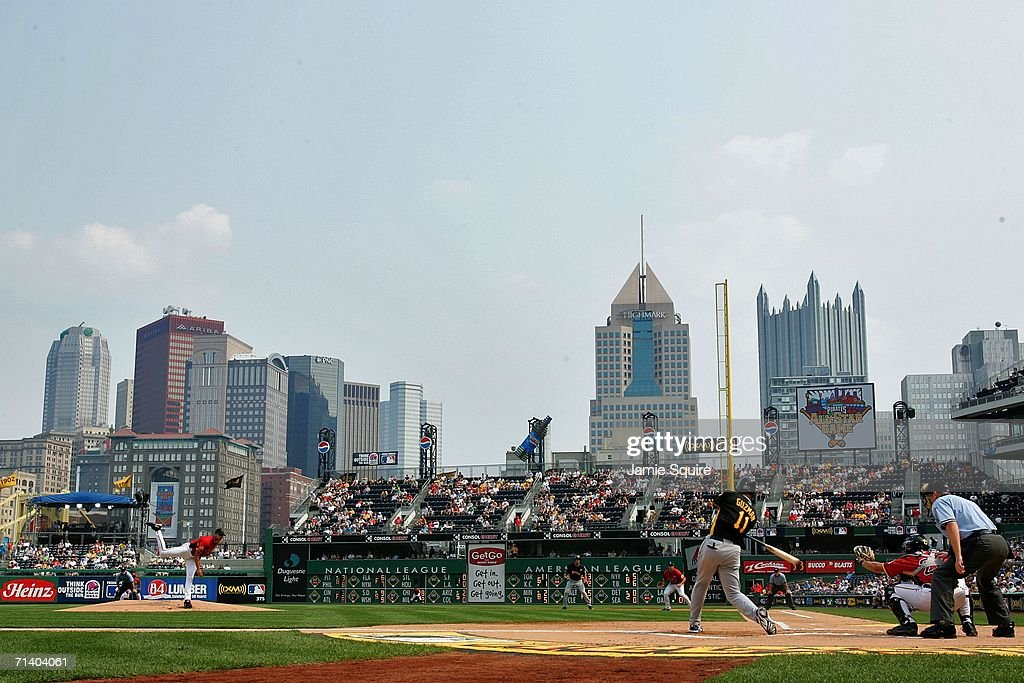 Joel Guzman of the World Team bats against the USA Team during the XM Satellite Radio AllStar Futures Game at PNC Park on July 9 2006 in Pittsburgh...