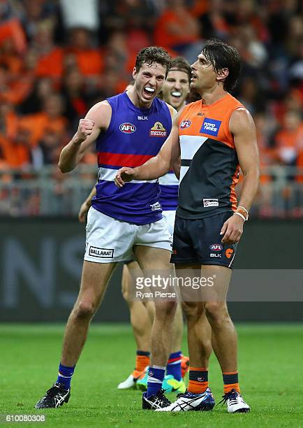 Joel Hamling of the Bulldogs celebrates a goal during the AFL First Preliminary Final match between the Greater Western Sydney Giants and the Western...