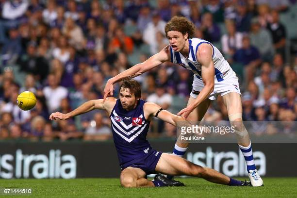 Joel Hamling of the Dockers and Ben Brown of the Kangaroos contest for the ball during the round five AFL match between the Fremantle Dockers and the...