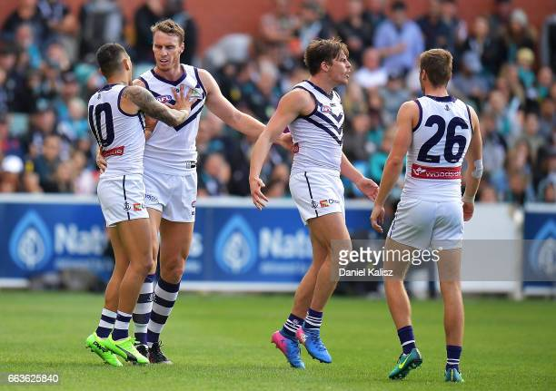 Joel Hamling of the Dockers celebrates after kicking a goal during the round two AFL match between the Port Adelaide Power and the Fremantle Dockers...