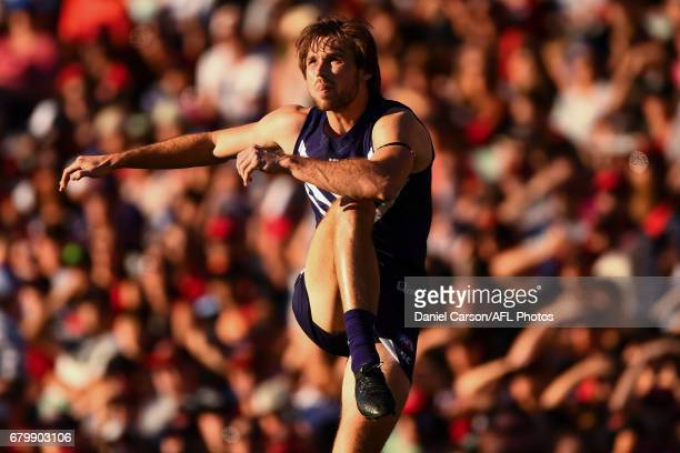 Joel Hamling of the Dockers kicks the ball during the 2017 AFL round 07 match between the Fremantle Dockers and the Essendon Bombers at Domain...