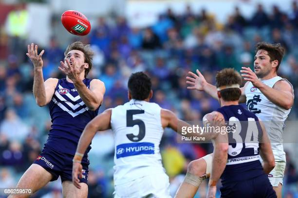 Joel Hamling of the Dockers marks the ball during the round nine AFL match between the Fremantle Dockers and the Carlton Blues at Domain Stadium on...