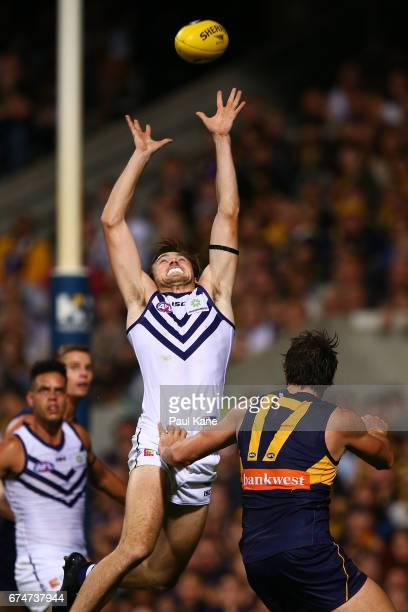 Joel Hamling of the Dockers sets for a mark during the round six AFL match between the West Coast Eagles and the Fremantle Dockers at Domain Stadium...
